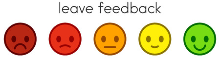Lascia un feedback. Scala di valutazione della soddisfazione del servizio con pulsanti di emoticon colorati. Icone di smiley piatte in diversi colori. Illustrazione vettoriale.