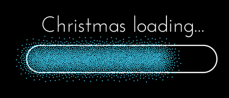 Black Christmas loading creative banner with blue progress indicator. Vector background.