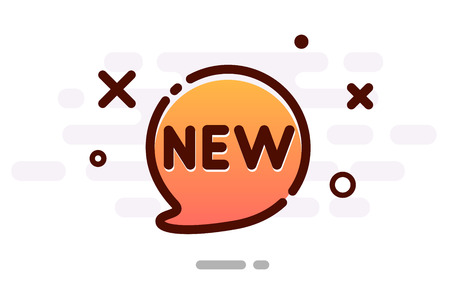 New sign with orange cartoon speech bubble. Vector background.