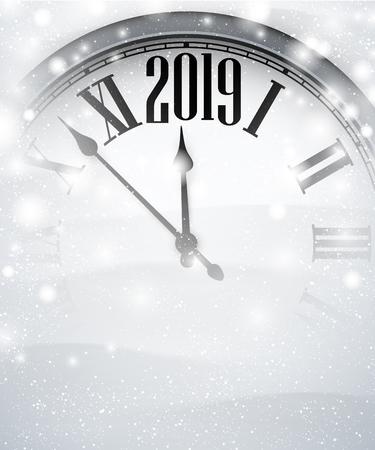 Blanco borroso fondo de año nuevo 2019 con reloj gris y nieve. Ilustración vectorial.