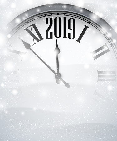 White blurred 2019 New Year background with grey clock and snow. Vector illustration.