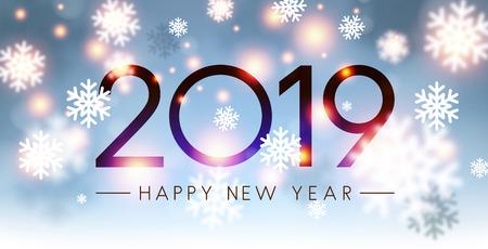 Glänzende 2019 Happy New Year-Karte mit verschwommenen Schneeflocken. Vektor-Hintergrund.