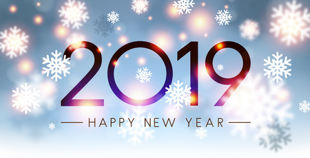 Shiny 2019 Happy New Year card with blurred snowflakes. Vector background. Çizim