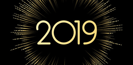 New Year 2019 banner with golden firework. Vector background.