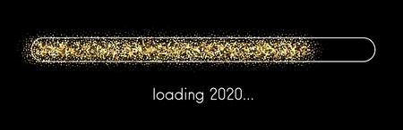 Chargement de la bannière festive créative du Nouvel An 2020. Fond de vecteur.