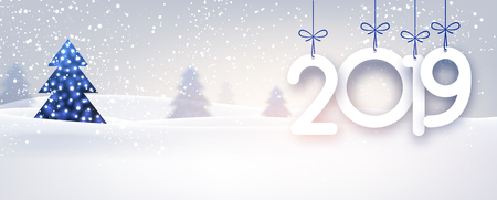 Blue 2019 New Year banner with beautiful winter landscape. Vector background. Çizim