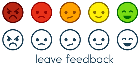 Laisser les commentaires. Échelles d'évaluation de la satisfaction du service client avec des boutons d'émoticônes couleur et monochrome. Icônes de smiley plat de différentes couleurs. Illustration vectorielle.