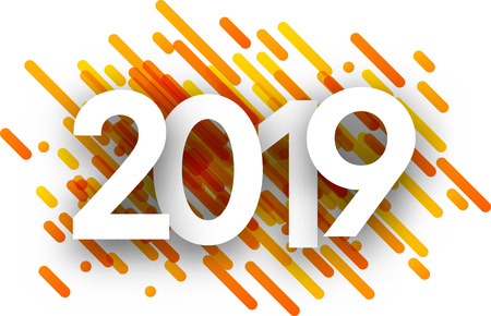 2019 new year sign with orange paint strokes on white background. Vector paper illustration.