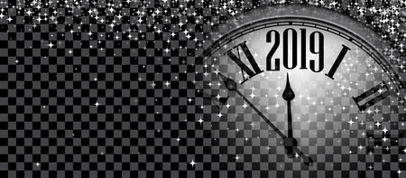 Black and silver shiny 2019 New Year transparent banner with blurred round clock. Vector illustration.