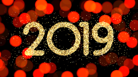 Golden shiny 2019 New Year sign on red bokeh background. Vector card.