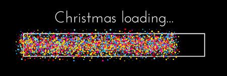 Bannière créative de chargement de Noël noir avec indicateur de progression coloré. Fond de vecteur.