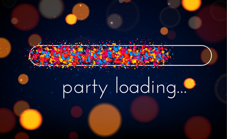 Creative party loading poster with progress indicator made of colorful confetti. Vector blurred background. 矢量图像