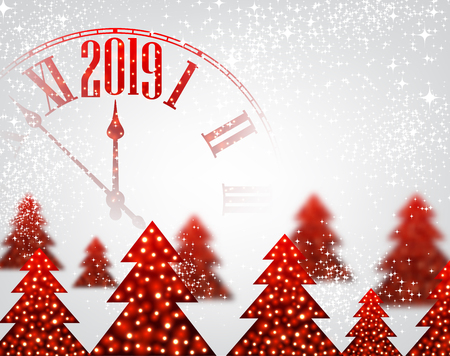 White shiny 2019 New Year background with red clock and Christmas trees. Beautiful Christmas greeting card template. Vector illustration.