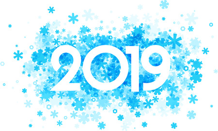 Winter 2019 sign with blue beautiful snowflakes on white background. Vector paper illustration. Illustration