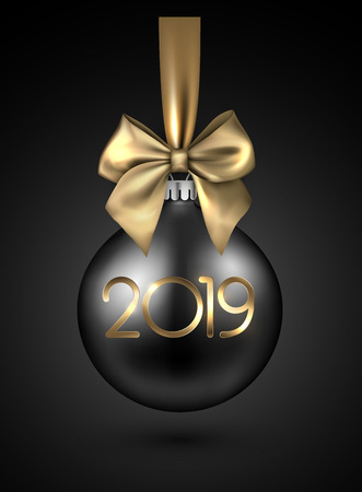 Black 2019 New Year background with 3d Christmas ball and beautiful gold satin bow. Greeting card or festive decoration. Vector illustration.