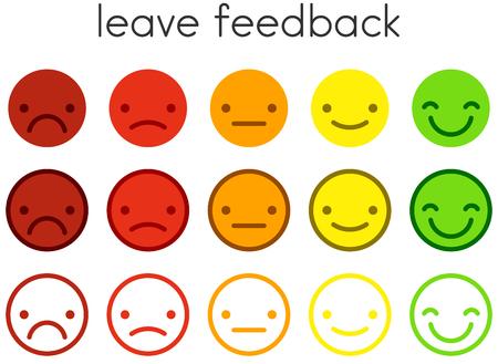 Laisser les commentaires. Échelles d'évaluation de la satisfaction du service client avec des boutons d'émoticônes de couleur. Icônes de smiley plat de différentes couleurs. Illustration vectorielle. Vecteurs