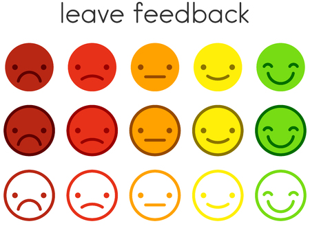 Leave feedback. Customer service satisfaction rating scales with color emoticons buttons. Flat smiley icons in different colours. Vector illustration. Vectores
