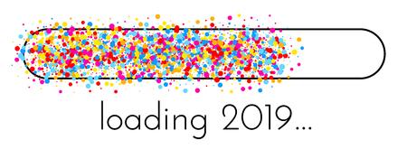 Chargement de la bannière créative du Nouvel An 2019 avec indicateur de progression coloré. Fond de vecteur.