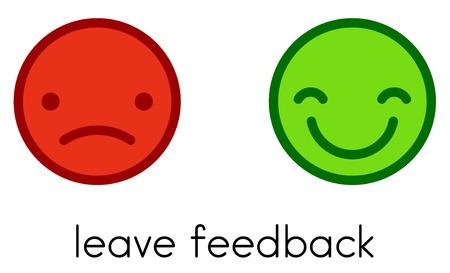 Leave feedback. Positive and negative flat color smileys buttons. Vector illustration.