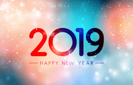 Colorful magic Happy New Year 2019 greeting card. Vector background.