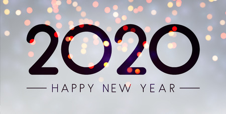 Grey shiny Happy New Year 2020 greeting card. Bokeh effect. Vector background. Иллюстрация
