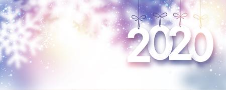Lila borrosa banner de año nuevo 2020 con copos de nieve. Fondo de vector. Ilustración de vector