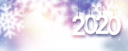 Lilac blurred 2020 New Year banner with snowflakes. Vector background. Vecteurs