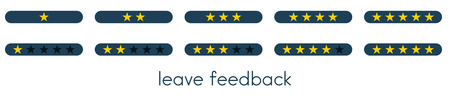 Leave feedback. Vote scale with blue buttons with gold one to five stars. Vector illustration.