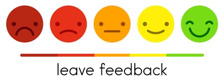 Laisser les commentaires. Échelle d'évaluation de la satisfaction du service avec des boutons d'émoticônes de couleur. Icônes de smiley plat de différentes couleurs. Illustration vectorielle. Vecteurs