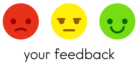Leave your feedback. Service satisfaction rating scale with flat color emoticons buttons. Vector illustration.