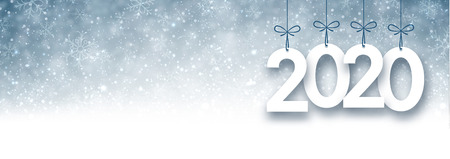 Grey 2020 New Year banner with snow. Vector background.