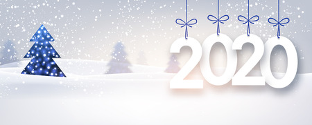 Blue 2020 New Year banner with beautiful winter landscape. Vector background. Çizim
