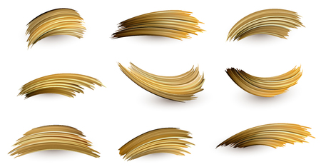 Set of isolated golden brush strokes drawn on white backdrop. Creative design template. Vector background.