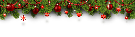 White Christmas and New Year banner with fir branches and red shiny Christmas decorations. Festive design. Vector background.