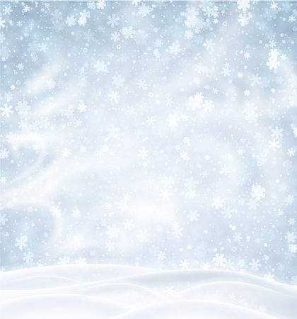 Blue poster with winter landscape, snowflakes and blizzard. Vector background.