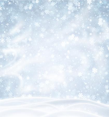 Cartel azul con paisaje invernal, copos de nieve y ventisca. Fondo de vector.