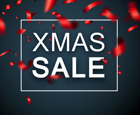 Christmas xmas sale seasonal promo poster with red blurred confetti. Vector background.