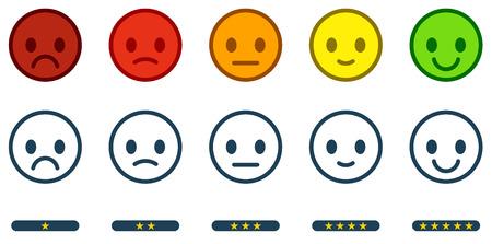 Laisser les commentaires. Échelle de satisfaction avec des boutons d'émoticônes de couleur et une à cinq étoiles. Icônes de smiley plat de différentes couleurs. Illustration vectorielle.