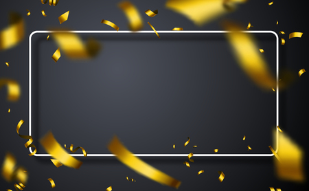 Grey Christmas, New Year and birthday festive poster with white frame and gold blurred confetti. Vector background. Ilustração
