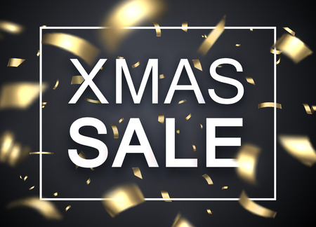 Christmas xmas sale shiny promo poster with golden blurred confetti. Vector background. Illustration