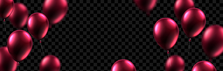 Festive banner with vinous shiny balloons on transparent backdrop. Holiday design. Vector background.