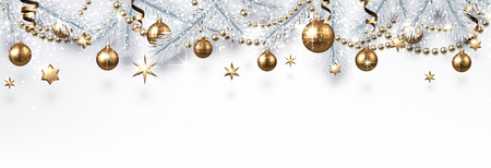 White Christmas and New Year banner with silver fir branches and golden shiny Christmas decorations. Festive design. Vector background.