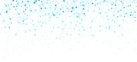 Manifesto di comunicazione globale bianco con rete astratta blu. Sfondo vettoriale.