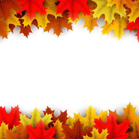 Jesień kwadrat tło z pięknymi kolorowymi liśćmi klonu na białym. Dekoracje sezonowe - Vector Ilustracje wektorowe