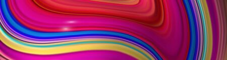 Horizontal banner with colorful abstract twisted shape in motion. Illustration of 3D rendered flow digital art - Vector  矢量图像