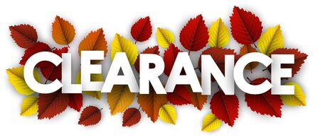 Autumn paper clearance letters over color birch leaves - Vector illustration.