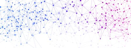 Global social communication white banner with purple and blue network mesh. Vector illustration. Stockfoto - 128505372