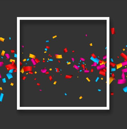 Grey festive background with white paper frame and colorful confetti. Vector illustration. Stock Illustratie