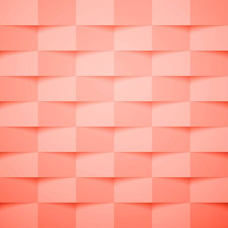Living coral square abstract background. Texture geometric checkered cover design pattern. Vector illustration.  Stock Illustratie