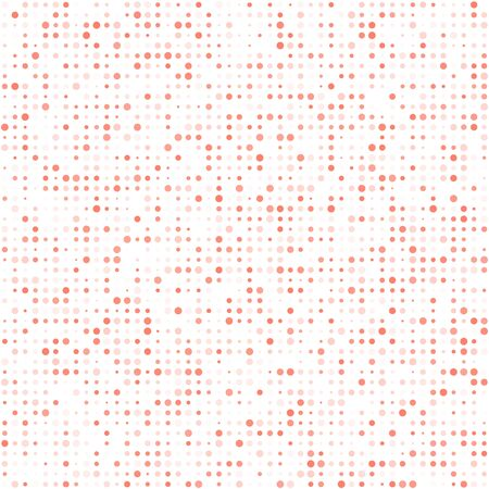Technology white square abstract background composed of living coral Circles. Dotted Vector pattern illustration.